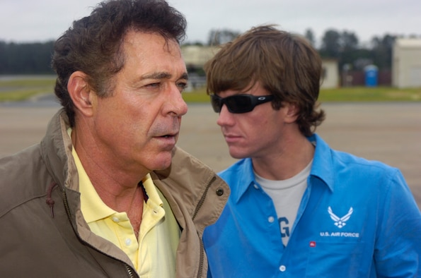 "NASCAR driver Jon Wood and actor Barry Williams, who played Greg Brady on the ""Brady Bunch"" prepare for their incentive flight on a KC-135R statotanker, Seymour Johnnson AFB, North Carolina."
