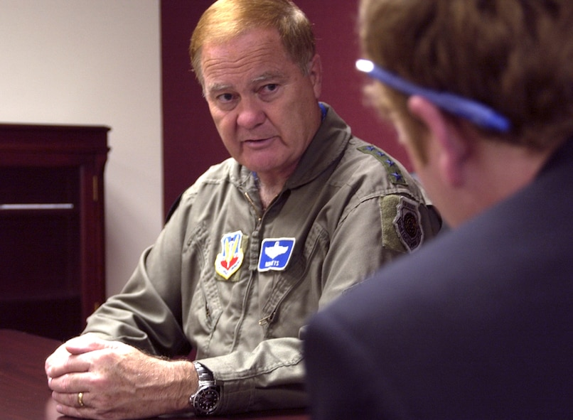 During an interview May 14 at Offutt, Gen. Ronald Keys, Air Combat Command commander, outlines the strain put on equipment and Airmen by increased operations tempo. (U.S. Air Force Photo/Tech. Sgt. A.J. Bosker)