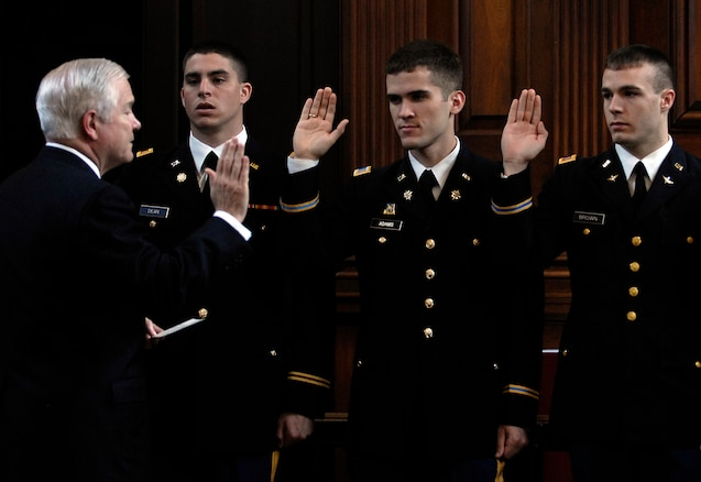 u s department of > photos > photo essays > essay view secretary of robert m gates administers the oath of office to rotc cadets at