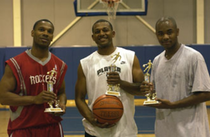 The 452nd All Star team took the top spot at the first Fit to Fight - Keep Moving Initiative event, a 3-on-3 double elimination basketball tournament. (Left to right) Will Horton, 452nd Aerospace Medicine Squadron, Willie Carter, 452nd AMDS and Dwayne Daniels, 452nd Services Squadron.  Four teams entered the AFRC initiated games, battling it out in a first to 15 double elimination tournament held at March Air Reserve Base.  (U.S. Air Force photo by Tech. Sgt Mike Blair)