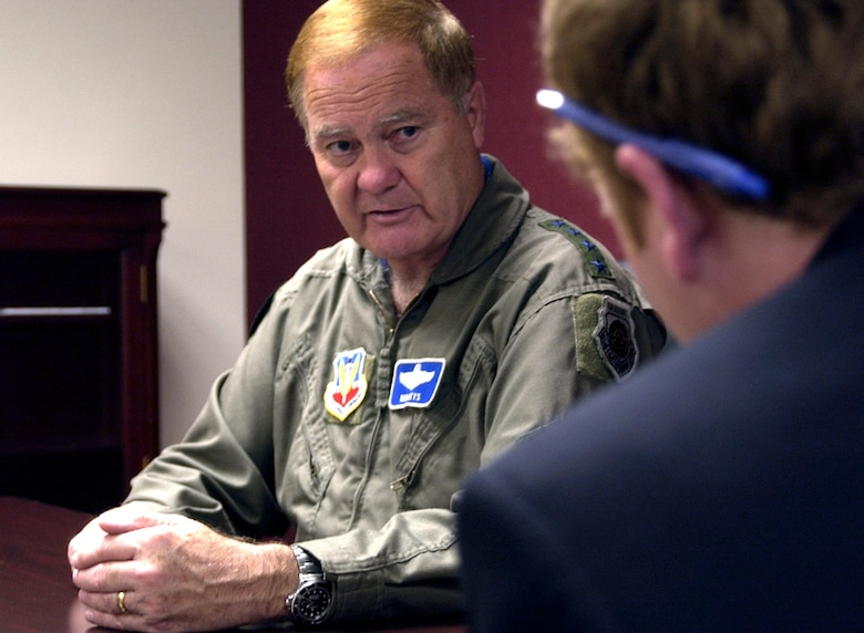 Gen. Ronald E. Keys outlines the strain put on equipment and Airmen by increased operations tempo during an interview May 14 at Offutt Air Force Base, Neb. General Keys is the Air Combat Command commander, in charge of the primary force provider of combat airpower to America's warfighting commands. (U.S. Air Force photo/Tech. Sgt. A.J. Bosker)