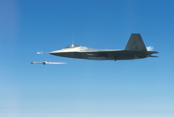 During a test mission on July 25, 2002, this F-22 became the first Raptor to fire an air-to-air missile at supersonic speed when it fired an AIM-9 Sidewinder. This aircraft is now on display at the National Museum of the United States Air Force. (U.S. Air Force photo)