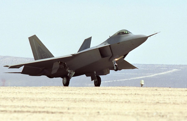 The F-22A being delivered to Edwards Air Force Base, Calif. This aircraft is now on display at the National Museum of the United States Air Force. (U.S. Air Force photo)