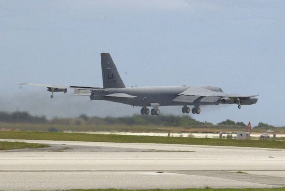 ANDERSEN AIR FORCE BASE, Guam -- A B-52, deployed to Andersen Air Force Base, Guam, from Barksdale Air Force Base, La., takes off May 23 for a mission in support of Cobra Gold. Andersen B-52s and KC-135s are air assets for the on-going exercise being held in the Kingdom of Thailand.  (Photo by Master Sgt. Arthur Webb/36th Operations Group)