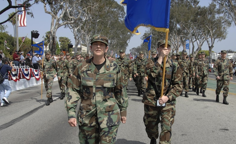 Brig. Gen. Ellen Pawlikowski, MILSATCOM Systems Wing commander, leads the LAAFB Marching Unit in the 2007 Torrance Armed Forces Day Parade, May 19. Gen. Kevin Chilton, Air Force Space Command commander, served as the Grand Marshal for the parade. A Los Angeles AFB honor guard led the way as Los Angeles, Edwards, and Vandenberg Air Force Bases and March Air Reserve Base marched passed the crowds with a total of more than 300 airmen participating.