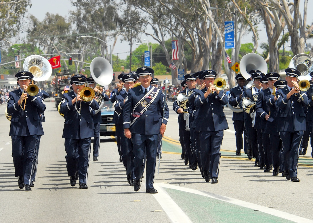 Members of the Air Force Band of the Golden West march in the 48th Annual Armed Forces Day parade May 19 in Torrance, Calif.  Gen. Kevin P. Chilton, commander of Air Force Space Command, was the grand marshal.  The band is stationed at Travis Air Force Base, Calif.  (U.S. Air Force photo/Tech. Sgt. Raheem Moore)