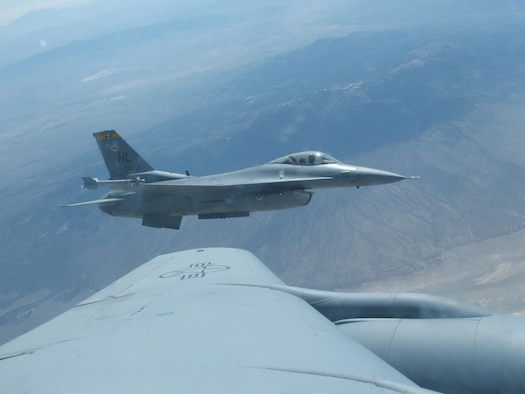 A 4th Fighter Squadron F-16 pulls beside a KC-135 Stratotanker form the Air National Guard's 151st Air Refueling Wing during a training mission May 1. (U.S. Air Force photo by 2nd Lt. Beth Woodward)