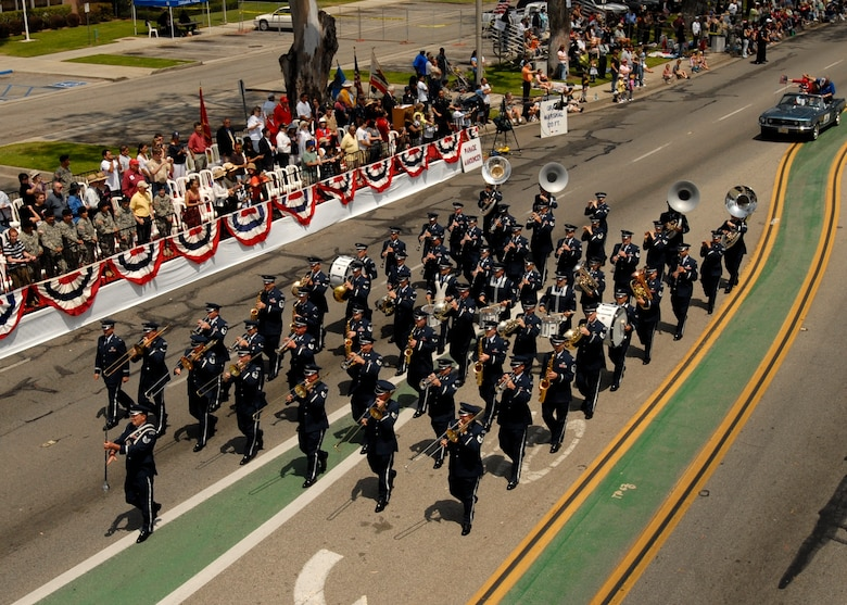 Members of the Band of the Golden West from Travis Air Force Base perform in the 2007 Torrance Armed Forces Day parade, May 19. Gen. Kevin Chilton, Air Force Space Command commander, served as the Grand Marshal for the parade. A Los Angeles AFB honor guard led the way as Los Angeles, Edwards, and Vandenberg Air Force Bases and March Air Reserve Base marched passed the crowds with a total of more than 300 airmen participating.