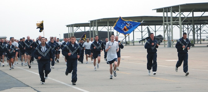 The 388th Fighter Wing participated in a morning 1.5 mile run along the flightline as part of safety day activities May 21. The run builds camaraderie among the wing and promotes fitness during the 101 Critical Days of Summer. (Photo by Senior Airman Stefanie Torres)