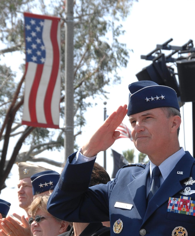 Gen. Kevin Chilton, Air Force Space Command commander, salutes a passing unit during the 2007 Torrance Armed Forces Day Parade. The general served as the parade's Grand Marshal. A Los Angeles AFB honor guard led the way as Los Angeles, Edwards, and Vandenberg Air Force Bases and March Air Reserve Base marched passed the crowds with a total of more than 300 airmen participating.