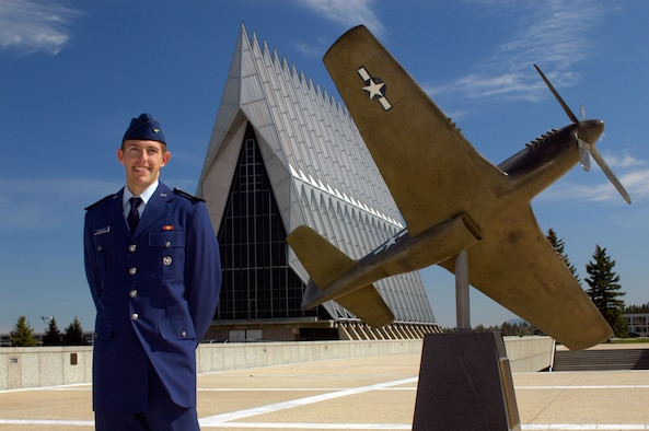 U.S. AIR FORCE ACADEMY, Colo. -- Cadet 1st Class Sean Andrews will graduate from the U.S. Air Force Academy here May 30. His father, former 50th Tactical Fighter Wing pilot Col. Bill Andrews, will pin on his second lieutenant bars at midnight the evening before the ceremony. Cadet Andrews hopes to follow in his father's footsteps, flying an F-16 Fighting Falcon or its next-generation counterpart, the F-35 Lightning II Joint Strike Fighter. (U.S. Air Force photo/Staff Sgt. Don Branum)