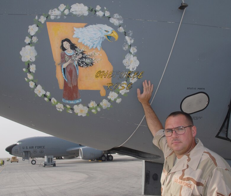 """""""Making history."""" -- Tech. Sgt. James Hall, 22nd Aircraft Maintenance Squadron. (Photo by Master Sgt. Bobby Burgess)"""