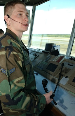 EIELSON AIR FORCE BASE, Alaska --   Airman 1st Class Kenneth Wagner, 354th Operations Support Squadron air traffic controller, releases a new ATIS Automatic Terminal Information Service to all pilots on May 23. The  ATIS is information pilots can repeat that contains the type of weather there is, wind direction, and wind speed, and is updated every time the conditions change.  (U.S. Air Force photo by Airman 1st Class Christopher Griffin)