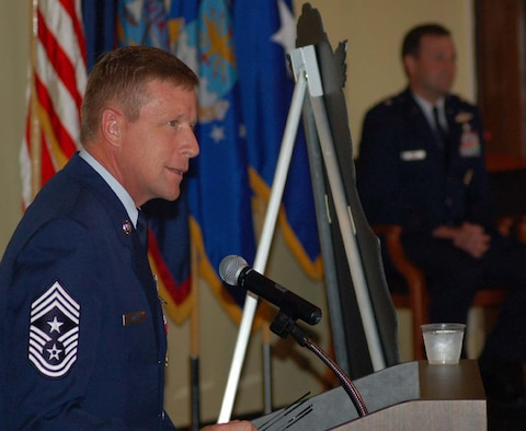 Chief Master Sgt. Robert Wicks, 36th Wing command chief master sergeant, addresses the Airmen and Sailors present for his retirement ceremony Wednesday at the Oceanview Community Center.  (Photo by Tech. Sgt. Brian Bahret/The Pacific Edge)