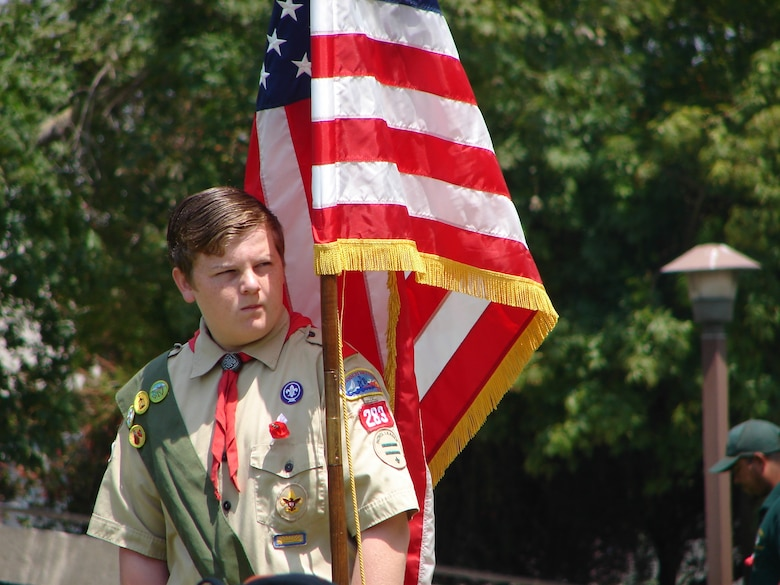 A member of Boy Scout Troop 283 participated in the 59th Annual Inglewood Memorial Day Service, May 28. The service honored fallen heroes from the city. Col. Douglas Kendall, Spacelift Range Group Commander was the keynote speaker at the event.