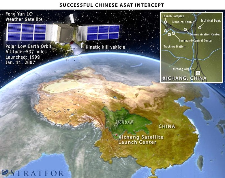 On Jan. 11, China conducted a successful test of an anti-satellite weapon from the from the Xichang Space Center in Sichuan province. The missile successfully engaged an aging low-earth orbit Chinese weather satellite on a polar orbit, 537 miles in space. (U.S. Air Force graphic)