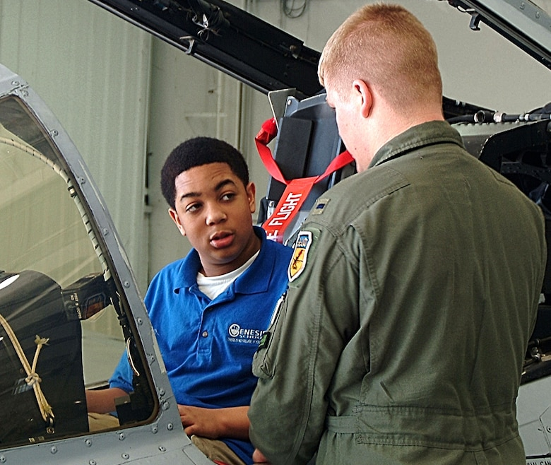 1st Lt. John Tice (right) answers questions about the A-10 Thunderbolt II from students from the Genesis School in Kansas City, Mo. Students from four area schools toured the A-10 and its facilities as a reward for successful completion of the wing-sponsored Wright Flight mentoring program. Lieutenant Tice is a pilot with the 442nd Fighter Wing's 303rd Fighter Squadron. The 442nd FW is an Air Force Reserve Command A-10 fighter unit based at Whiteman Air Force Base, Mo. (U.S. Air Force photo/Master Sgt. Christina Suratos)