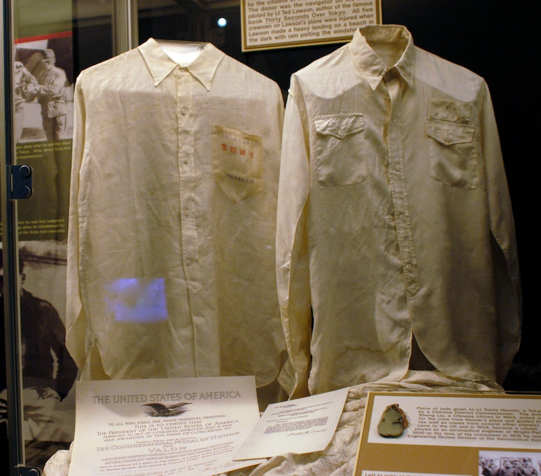 DAYTON, Ohio - (left) Hand-made shirt given to Lt. Charles L. McClure while hiding in China. (right) Silk shirt given to Lt. Charles A. Knobloch by Chinese when he entered friendly territory. (U.S. Air Force photo)