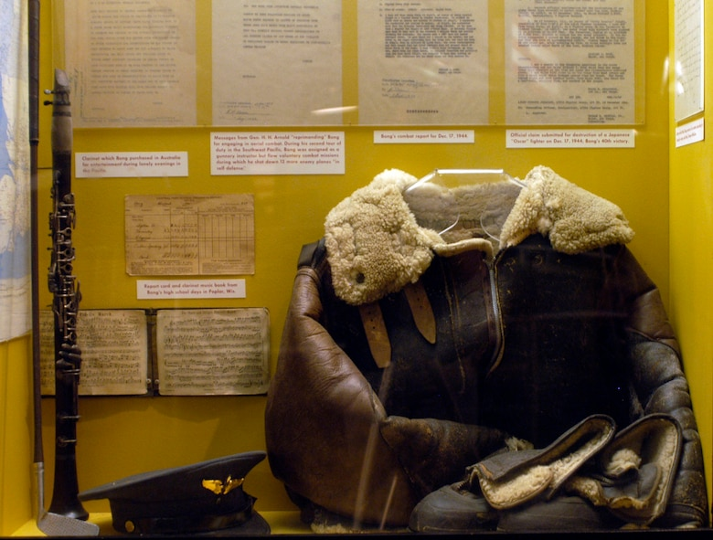 DAYTON, Ohio -- Maj. Richard Bong's flight jacket, boots and cap on display in the World War II Gallery at the National Museum of the U.S. Air Force. These items were donated by his father, Carl T. Bong of Poplar, Wis. (U.S. Air Force photo)