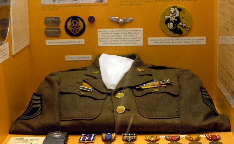 DAYTON, Ohio -- This uniform blouse donated by Sgt. John D. Foley, Banning, Calif., is on display in the World War II Gallery at the National Museum of the U.S. Air Force. (U.S. Air Force photo)