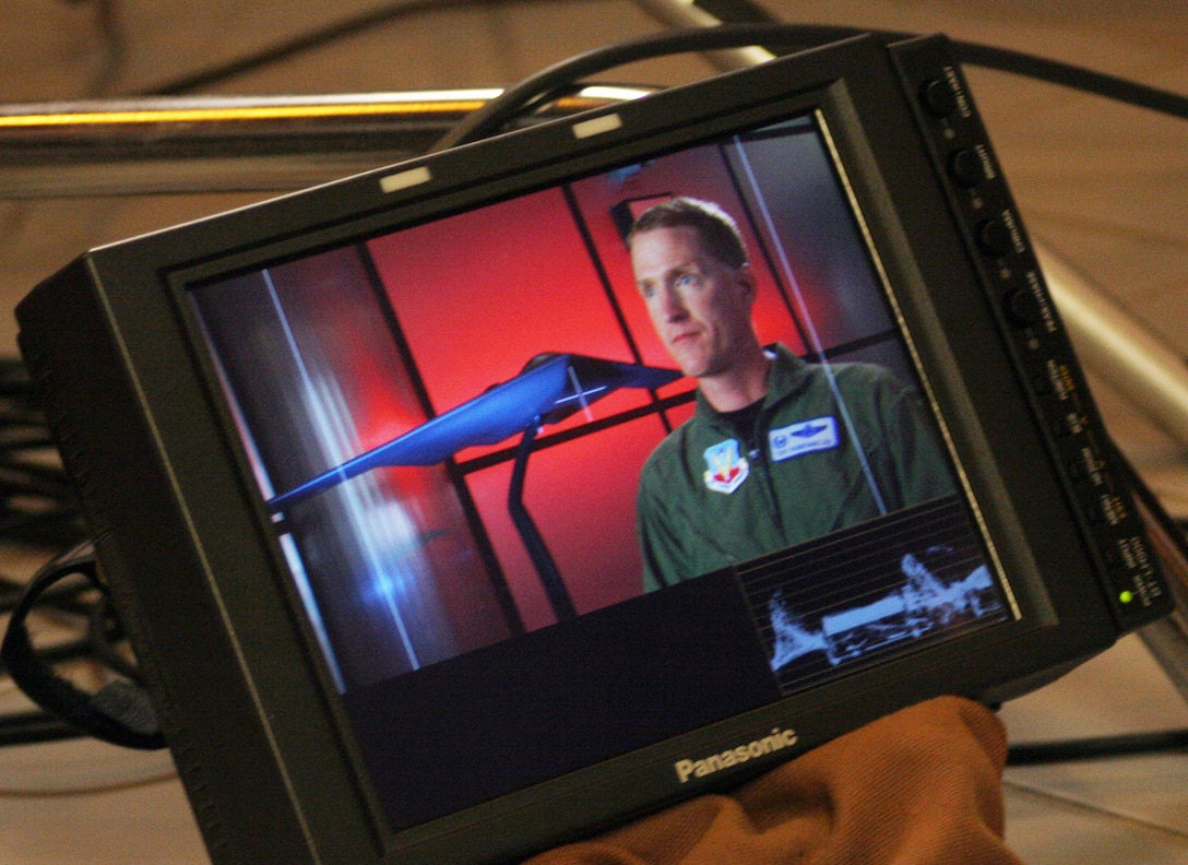 A close-up of Lt. Col. Troy VanBemmelen, 394th Combat Training Squadron commander, during an interview for the Smithsonian Institute's feature documentary on stealth technology. (U.S. Air Force photo/Tech. Sgt. Matt Summers)