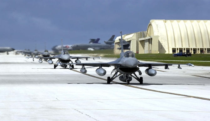 F-16s from Cannon Air Force Base, N.M., arrived at Andersen Air Force Base, Guam Wednesday, to begin their four-month rotation in in support of the deployment for the Theater Security Package to the Western Pacific.  (Photo by Senior Airman Miranda Moorer/36th CS)