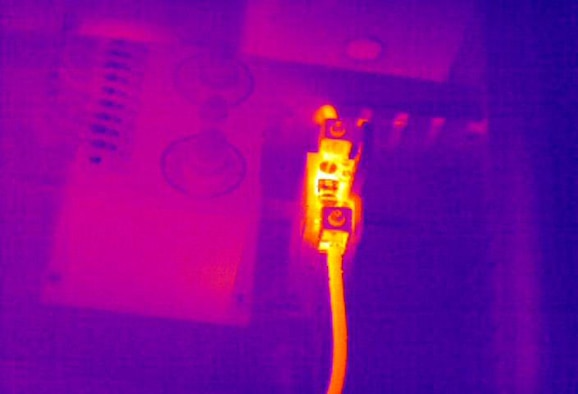 Infrared image of an electrical connection through an infrared window. (Photo courtesy)