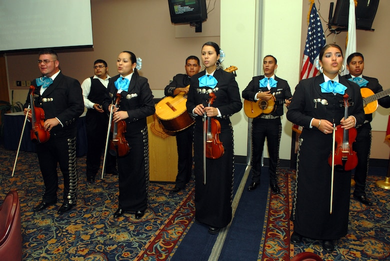 Mariachi Alma Mexicana serenade and entertain guests during the luncheon Oct. 11 (U.S. Air Force photo by Airman 1st Class Kamaile Chan)