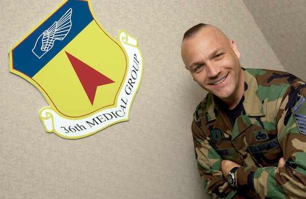 Master Sgt. Lonny Bower is the 36th Medical Group first sergeant. (U.S. Air Force photo/Senior Airman Miranda Moorer)