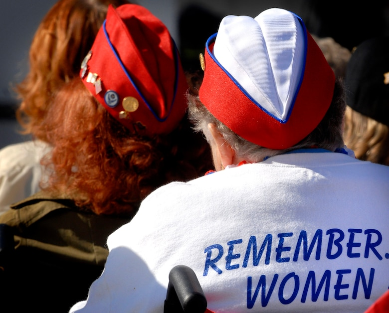 """Women veterans wear shirts declaring, """"Remember Women are Veterans Too,"""" during the ceremony celebrating the 10th anniversary of the Women in Military Service for America Memorial at Arlington National Cemetery. (DOD photo/Cherie A. Thurlby)"""