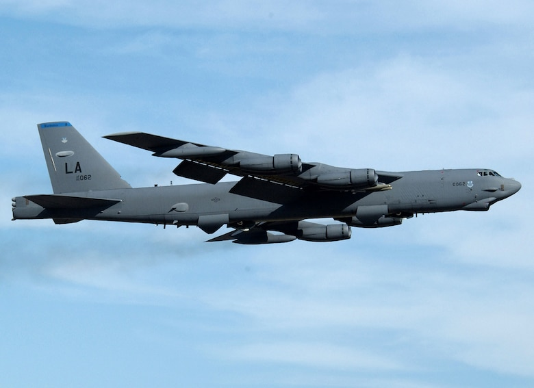 An Air Force B-52 Stratofortress from Barksdale Air Force Base, La., was used for a demonstration of the LITENING pod Oct. 17 at Tyndall AFB, Fla. The demonstration showed the LITENING pod's capability to capture digital imagery and upload it to communications networks. (U.S. Air Force photo/Master Sgt. Mike Kaplan)