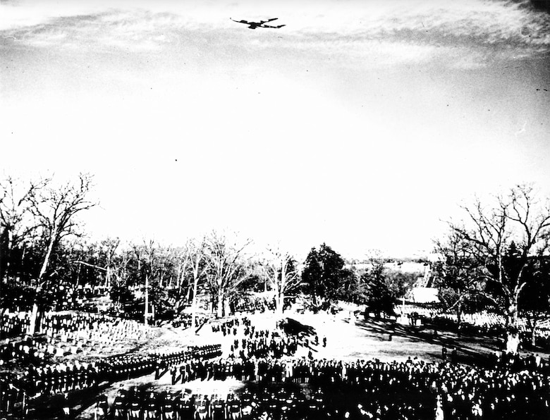 Boeing VC-137C SAM 26000 (Air Force One) flies over President John F. Kennedy's funeral in 1963. (U.S. Air Force photo)