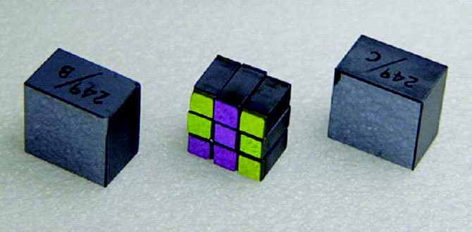New large-aperture nonlinear optical crystal parts, with the center image showing nine standard-sized crystal parts stacked into a cube