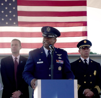Col. Carl Williamson represented Scott Air Force Base, Ill., during opening ceremonies of the traveling exhibit for the Sept. 11 National Memorial and Museum tribute. The Air Force Communications Agency commander spoke about the continued war on terrorism and the many names you won't see on this memorial. Nevertheless, he said, it still represents those who continue to fight the fight today. He also joined St. Louis community leaders and first responders in signing one of the beams that will be used in the memorial construction. The exhibit is traveling the country and stopping at 25 places that have special meaning to its organizers, all who have direct ties to etiher responding as a fire/resuce force or who lost loved ones in the attack.