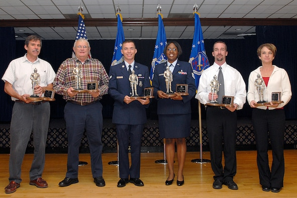 The 21st Space Wing held its quarterly awards ceremony Nov. 7 at The Club. Winners are (left to right):