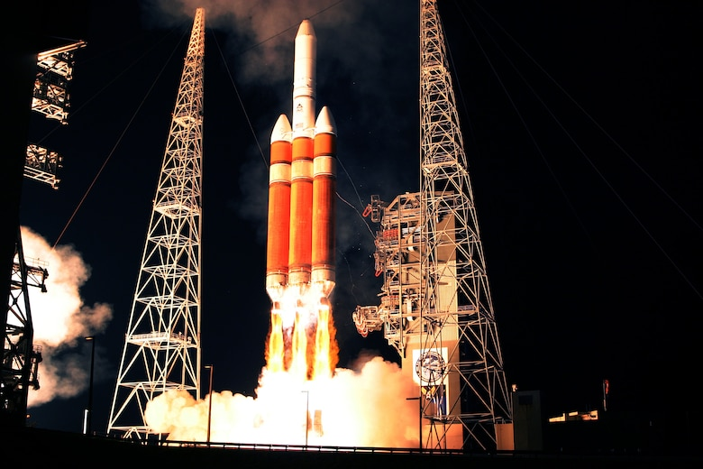 CAPE CANAVERAL AFS, Fla. -- A Delta IV Heavy rocket lifts off late in the evening of Nov. 10 from Launch Pad 37B here, marking the first operational use of this configuration. Payload for the mission was DSP-23, the last of the Defense Support Program satellites. The 45th Space Wing's support helped ensure public safety and mission success via radar, telemetry, communications and meteorological systems. ULA photo by Carleton Bailie