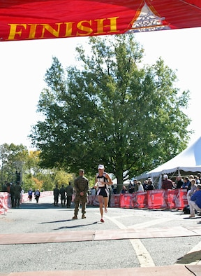 Capt. Jason Schlarb, Space Logistics Group, completed the Marine Corps Marathon Oct. 28 in Washington D.C. He finished the 26.2 mile course in 2 hours, 37 minutes, coming in third among Air Force entrants and 31st overall out of 21,000 finishers. (Courtesy photo)