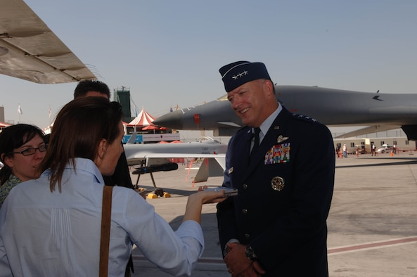 Lieutenant General Gary North, commander 9th Air Force and U.S. Central Command Air Forces, conducts an interview during the Dubai Air Show Nov. 12, 2007.  The United States military is providing of support for the 10th Edition of the Dubai Air Show from November 11-15, 2007.  Approximately 250 military members and a variety of U. S. Air Force and Navy aircraft will exhibit a snapshot of the U.S. military's diverse aircraft inventory. The United States military is a long-standing participant in the biennial Dubai Air Show.  (Air Force Photo by Tech. Sgt. Charlein C. Sheets)