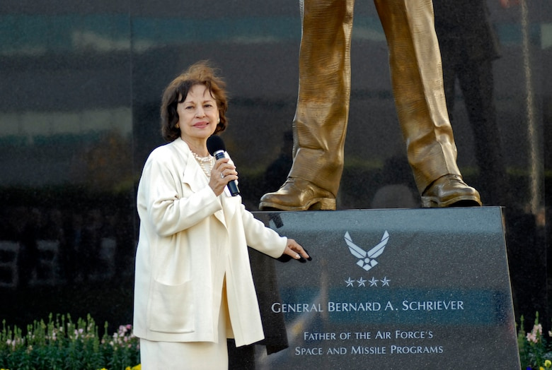 General Bernard A. Schriever's widow Joni James spoke fondly about her late husband at a ceremony here to dedicate a memorial to the general, Nov. 15.  General Schriever is considered the father of the Air Force's space and missile program. The statue was donated to SMC by the Air Force Association's Schriever Chapter. (Photo by Lou Hernandez)