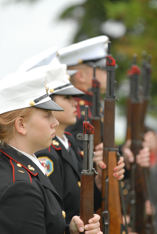 Members of the Redondo Union High School Junior ROTC Program fired a 21 gun salute at Redondo Beach's fifth Annual Veterans Day Tribute. Col. David Madden, GPS Wing commander, was the keynote speaker. (Photo by Stephen Schester)