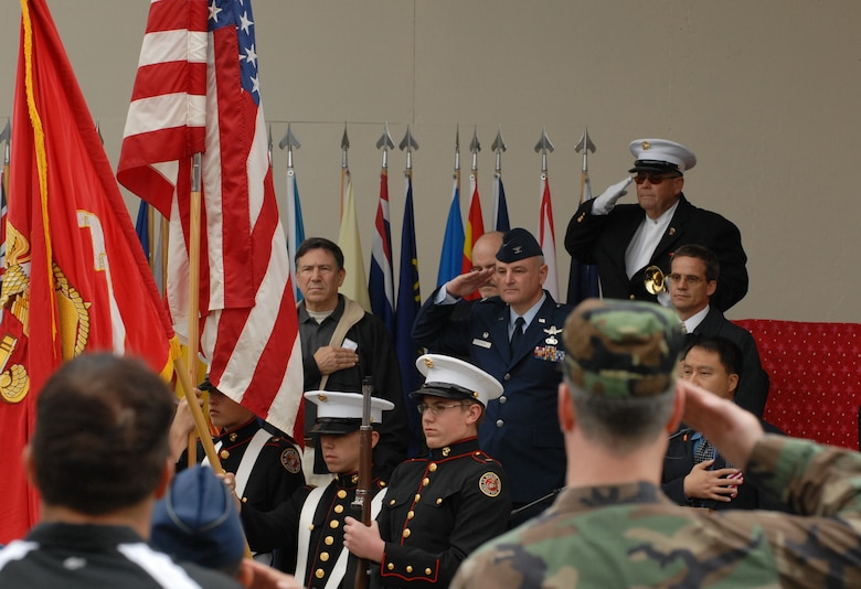 Members of the Redondo Union High School Junior ROTC Program present the colors at Redondo Beach's fifth Annual Veterans Day Tribute. Col. David Madden, GPS Wing commander, was the keynote speaker. (Photo by Stephen Schester)