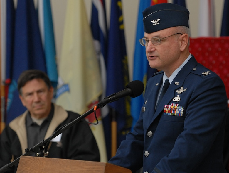 Col. David Madden, GPS Wing commander, spoke at Redondo Beach's fifth Annual Veterans Day Tribute. (Photo by Stephen Schester)