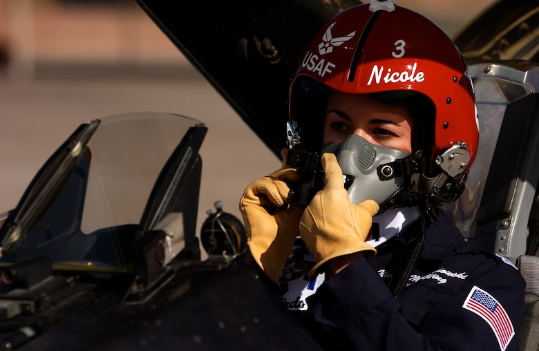 Maj. Nicole Malachowski prepares to take off for a practice sortie with the Thunderbirds in an F-16 Fighting Falcon. Major Malachowski is the Thunderbird #3 right wing pilot and just finished her two-year tour with the Air Force Demonstration Squadron. (U.S. Air Force photo/Tech. Sgt. Justin Pyle)