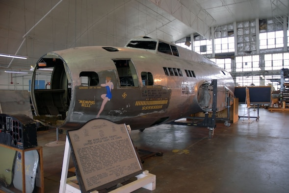"""DAYTON, Ohio (11/2007) -- The B-17F """"Memphis Belle"""" in the restoration hangar at the National Museum of the United States Air Force. (U.S. Air Force photo)"""