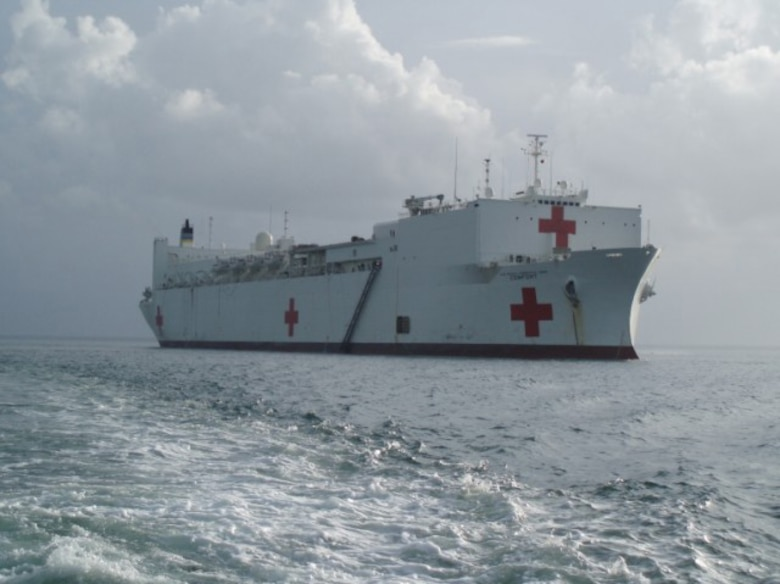 COLUMBIA -- The USNS Comfort waits at anchor off the coast of Bahia Malaga, Columbia, in August.  The ship's 120-day mission of the Partnership of the Americas provided medial aid to 12 countries. (U.S. Air Force photo/Tech. Sgt. Jason Conely)
