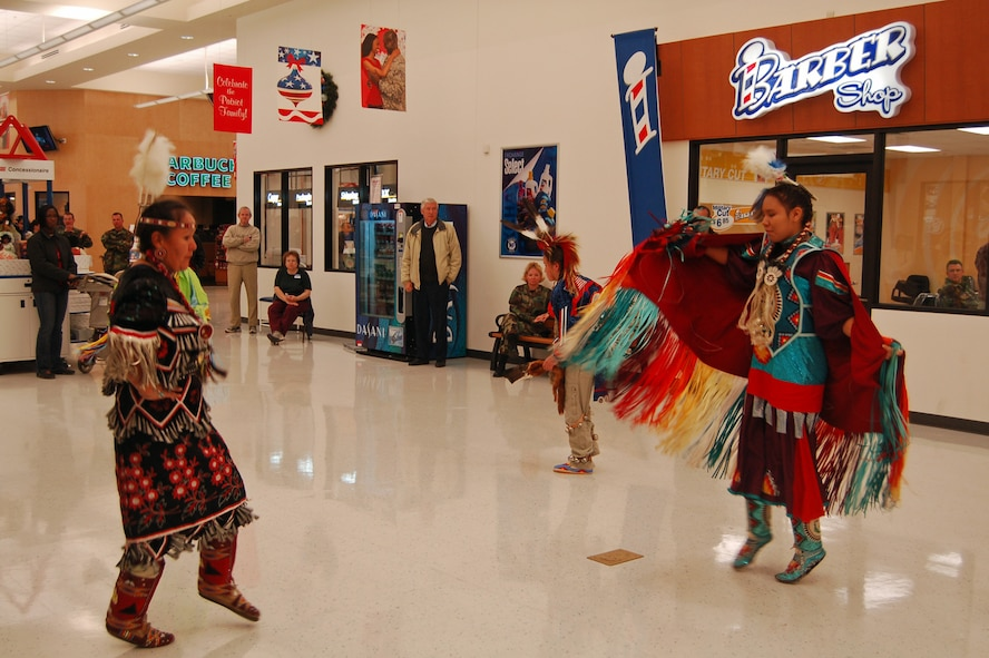 Members of the Sweetwater Indian Dancers perform in the lobby of the Base Exchange Nov. 14. The troupe performed several traditional dances as part of Native American Heritage Month, held annually in November. (U.S. Air Force photo by Corey Dahl)