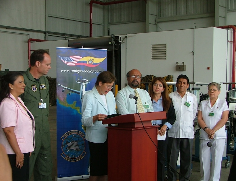 U.S. Ambassador Linda Jewell, along with Lt. Col. Robert Leonard, 478th Expeditionary Operations Squadron commander, presents $135,200 worth of medical equipment to representatives from Hospital Rodriguez Zambrano and San Gregorio Hospital.  Both hospitals are located in Manta, Ecuador. The donated equipment arrived at the FOL on a KC-135 from the Alabama Air National Guard's 117th Air Refueling Wing.  Additional medical equipment arrived on a KC-135 from the Alaska Air National Guard's 168th ARW.  Both wings deployed to Manta to support operations at the FOL. (U.S. Air Force photo/1st Lt. Malinda Singleton)