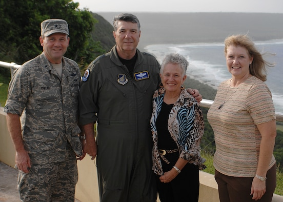 Gen. Paul Hester, Pacific Air Forces commander, and his wife, Lynda, receive a base tour from Brig. Gen. Douglas Owens, 36th Wing commander, and his wife, Teresa. General Hester is scheduled to retire Nov. 30 and relinquish command of PACAF to Lt. Gen. Carrol Chandler. (U.S. Air Force photo/Senior Airman Sonya Padilla)