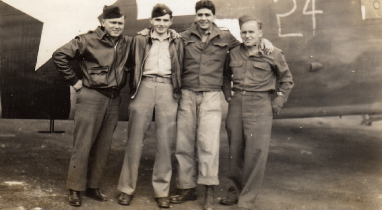 Crew of the Hurlburt C-47, tail number 43-15510,on Sept. 17, 1944, before the first mission of Operation Market Garden: Lt. John Harmonay, Lt. Bill Prindible, Staff Sgt. Mike Ingrisano and Tech. Sgt. Jules Zinkiewicz. (Courtesy photo)
