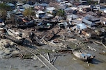 Aerial view of the destruction left behind by Tropical Cyclone Sidr in Bangladesh, Nov. 27, 2007. The USS Kearsarge and the embarked 22nd Marine Expeditionary Unit (Special Operations Capable) are conducting humanitarian assistance and disaster relief missions.